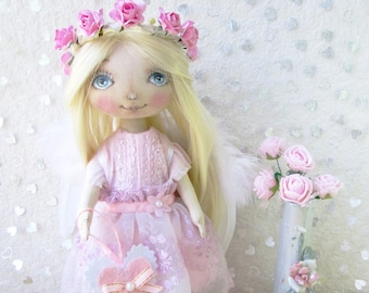 Angel doll, Angel girl,   Collectible cloth fabric doll , soft toy for girl, Handmade doll, Fabric Doll ,Birthday gift,Textile doll