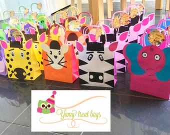 Safari party bags,animal loot bags, jungle treat bags,party favour,