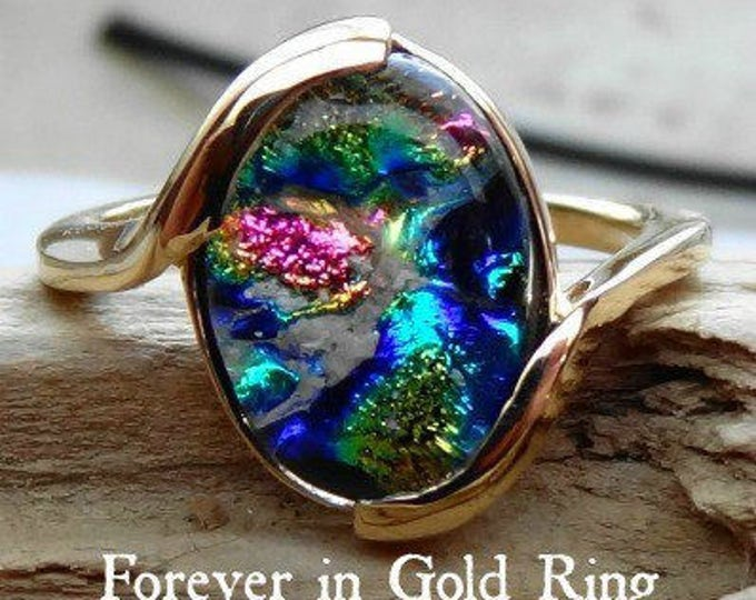 Ashes into Glass Forever Memorial  Ring in 14k White or Yellow Gold, Pet Memorial, Cremation Jewelry