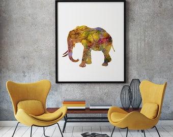 Elephant Print Art Poster Animal Illustration Home Decor