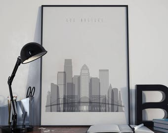 Los Angeles Art Home Decor Los Angeles City Watercolor Los Angeles Wall Art Los Angeles Skyline Wall Decor Multicolor Los Angeles Print