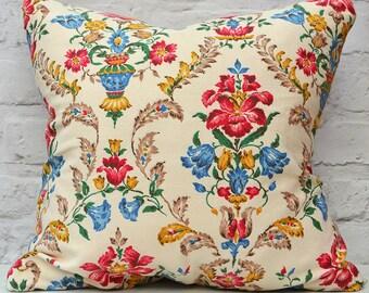 "Vintage barkcloth cushion with feather insert 18""x18"" / 45x45cm, Floral barkcloth pillow , handmade vintage cushion in floral print 18"""