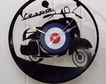 Vespa Vinyl Record wall clock, vintage record, classic Iconic legend legendary, retro wall clock, old school new, bike mod moped motorcycle