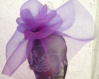 purple feather fascinator millinery burlesque headband wedding hat hair piece