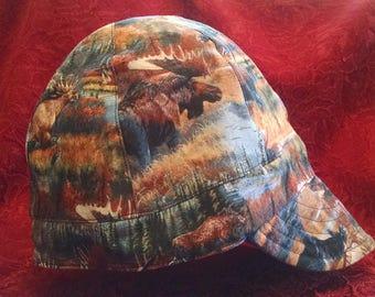 Moose Print/Blue 100% Cotton Reversible Welding Cap