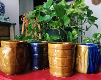 Vintage Ceramic Mugs, Set of 4 Bohemian Glazed Coffee Cups // SALE