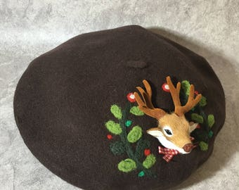 2-in-1 Lovely Deer Beret/ Tam/ Hat with removable Deer Brooch/ Badge/ Pin/ Patch/ Accessories