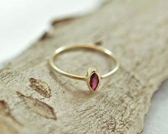 Dainty Ruby Ring with 14kt Gold Band