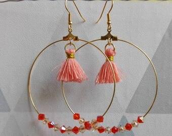 Creoles pearls tassel and Swarovsky