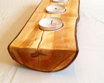 Cherry Wood Tealight Candle Holder