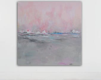 large abstract painting, original abstract painting , large wall art, pink,gray, acrylic on canvas, 36x36 inches, taupe, white