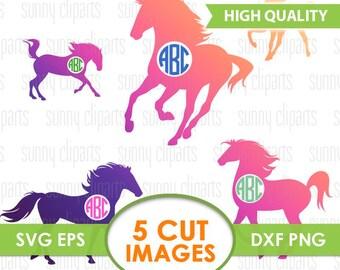 Horse Monogram Svg, Horse Monogram Decal, Horse Silhouette, Horse Clipart, Horse Vinyl Decal, Svg Files For Silhouette, Svg Bundle, Eps, Dxf