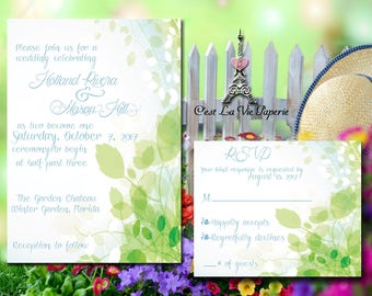 Elegant Floral Wedding Invitation Suite