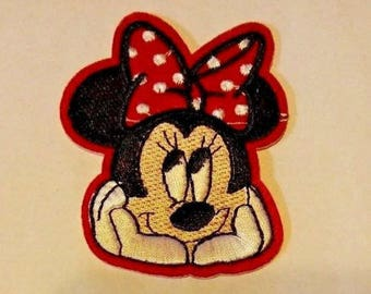 Minnie Mouse Red Polka Dot Bow Thinking Pose Iron On Patch Applique Sewing