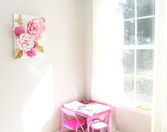 Paper Flower Canvas, Paper Flower Decoration, NurseryDecor, Wedding Decor, Baby Shower Decor,  Paper Flower Roses, PartyProp