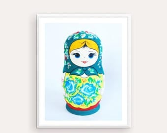 Matryoshka Poster, Digital Print Russian Nesting Doll, Folk art print, printable artwork, Doll Print