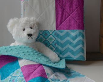 Teal baby quilt set with minky backing -Teal - Magenta - White - Modern - Homemade