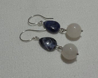 Silver plated copper earrings, Sodalite and white quartz
