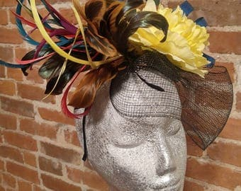 Kentucky Derby Hat, Summer hat, Church hats, Melbourne cup hat, tea party, Wedding, Coral, yellow Fascinator, Royal Ascott, Baby shower
