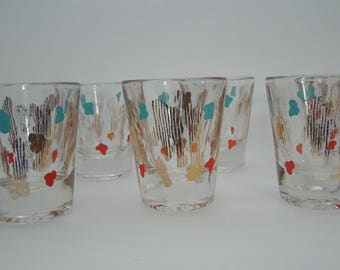 shot glasses set of six mid-century