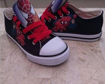 Boys Girls Custom Design High Low Tops Personalised shoes Sneakers Chucks Kids Trainers Spiderman Movie