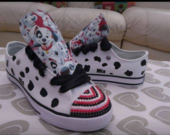 Custom Design High Low Tops Personalised Sneakers Chucks Adults Trainers 101 Dalmatians Shoes