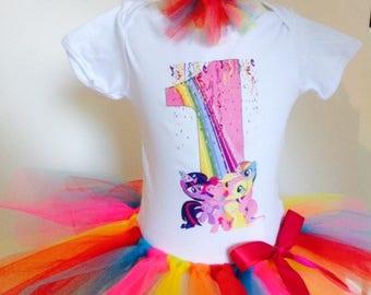 My Little Pony Birthday Outfit,Birthday Shirt,Rainbow Tutu,Birthday t-shirt,Custom Shirt,My little pony shirt,Cake smash outfit,any age,name