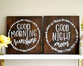 Good Morning Sunshine Good Night Moon Combo | 12x12 | Handwritten Home Sign | Nursery Decor | Bedroom Decor | Baby Shower | Housewarming
