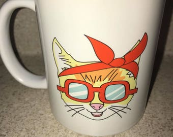 Hipster Cat Coffee Mug with Sunglasses and bandana great gift, not vinyl, dishwasher safe coffee mug