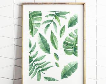 Tropical leaves Print, Art Print, Modern Decor, Tropical Print, Home & Living, Modern Wall Art Prints, Tropical Art