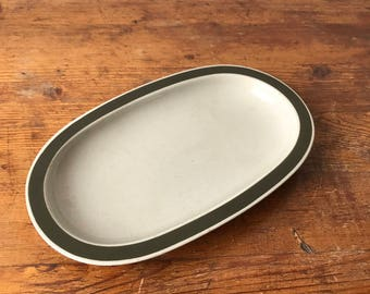 Melitta handpainted mid century serving tray two-tone forest green cake plate snack plate sushi plate