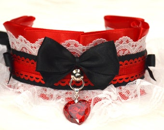 BDSM/Kitten Play Tug Proof Red Black and White Lace Collar with Swarovski Crystal Pendant