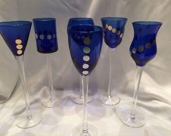 Blue Cordial Glasses