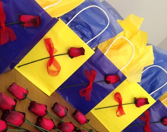 Beauty and the Beast inspired party gift bags with wooden roses