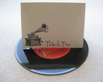 6 Handmade vintage gramophone blank thank you notecard set