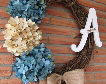Ready to Ship!!! Front Door Hydrangea Wreath with Monogram and Burlap bow. Perfect for Spring, Summer and Fall.