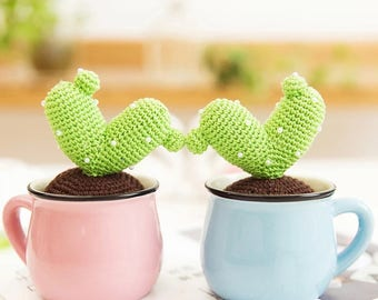 Small Crochet Cacti and Flower Bulb Centerpieces