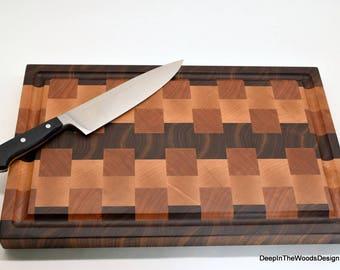 End Grain Cutting Board - Walnut Cherry and Maple End Grain Cutting Board- Wedding Gift