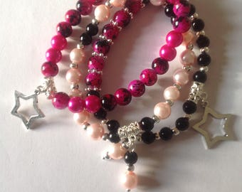 Pink bracelets 3 stacking bracelets beaded bracelets handmade bracelets matching bracelets