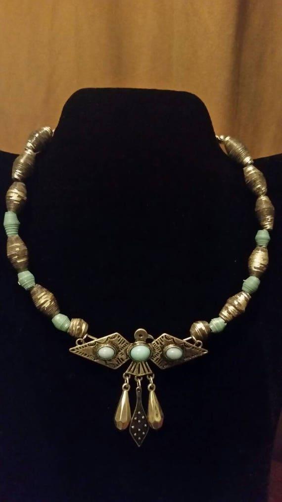 "Choker - Paper Beads - Turquoise Bird - Country Chic Choker- 16"" - First Anniversary Gift- Paper Gifts - Handmade Jewelry"