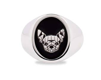 Ring 925 Silver Chihuahua Dog