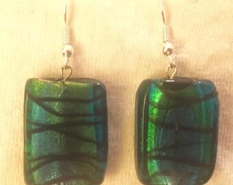 Blue-Green Glass Beaded Earrings