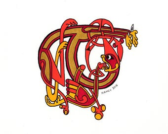 Drop cap T Celtic out of the book of Kells, paint original illumination