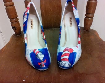 Custom, size 3, Dr Seuss, Cat in the Hat, high heel shoes