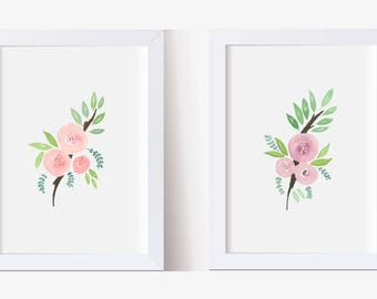 Watercolor Painting, Picture Pink and Purple Roses Art Print Set, Watercolor Flowers Art Print Set, (5x7, 8x10, 11x14)