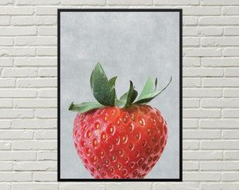 STRAWBERRY art print, strawberry digital print, strawberry kitchen decor, fruit kitchen art, dining room decor, strawberry picture, food art