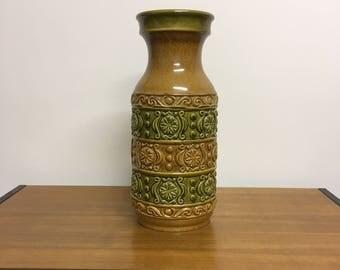 Vintage vase German pottery flower vase ceramic of 70s floor vase flower vase