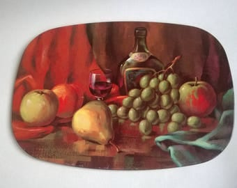 Vintage Shabby Chic Kitsch metal placement fruit & wine