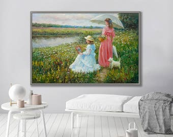 """Figurative Painting, People Painting, Girl on Flower Field, 24x36""""/60x90cm Oil Painting"""