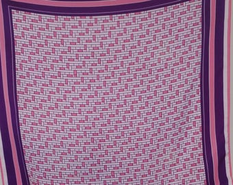 Japanese Scarf, Pink and Purple Scarf, Vintage Scarf, Vintage Japanese Scarf, Retro Scarf, Geometric Scarf, Pink Scarf, Purple Scarf